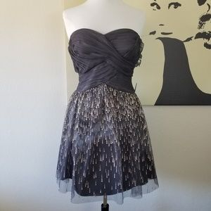 Cache Blue Silver Strapless Dress 2 (NWOT)